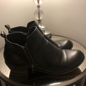 Black Faux Leather Ankle Booties Size 11